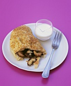 Pasty with banana, pecan and chocolate filling