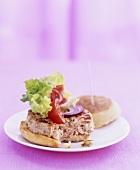Salmon burger with salad