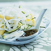 Asian rice noodle and courgette salad with yellow beans