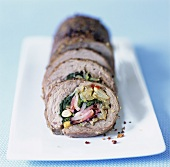 Roulade filled with Swiss chard and bacon