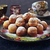 Deep-fried quark balls with icing sugar