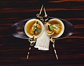 Curry soup with mushroom ravioli