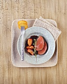 Beef fillet with plums