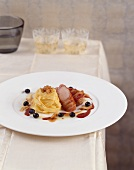 Bacon-wrapped pheasant breast, tagliatelle, white chocolate