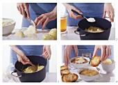 Zwiebelsuppe mit Käsebaguette zubereiten