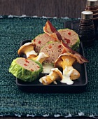 Stuffed savoy cabbage leaves with chanterelles