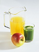 Apple juice and wheatgrass juice