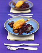 Capon with sweet chestnuts and red cabbage
