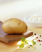 Cooked potato with cottage cheese