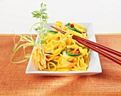 Asian egg noodles with vegetables