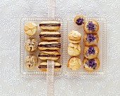 Chocolate-filled finger biscuits, lavender biscuits, almond duchesse biscuits
