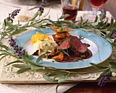Beef fillet with red wine sauce, mushrooms and vegetable puree