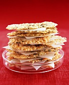 Parmesan wafers with herbs, stacked