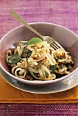Rice noodles with beef and Thai basil