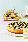 Blackberry cheesecake and gooseberry slices
