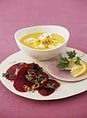 Fish curry with marinated beetroot