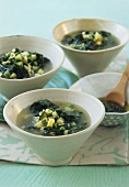 Spinach and vegetable soup with pasta shells and pesto