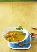 Curried potato soup with apple and carrot