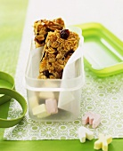 Home-made muesli bars with dried fruit and nuts