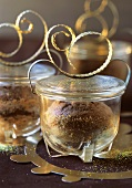 Coffee chocolate cakes baked in jars