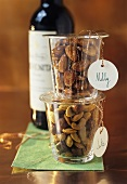 Roasted almonds and curried nuts in jars to give as gifts