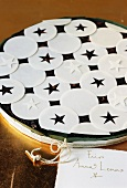 Panforte stellato (Panforte decorated with wafer stars, Italy)