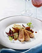 Duck breast, mashed potato with dried fruit, shallot sauce