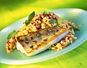 Fried zander with barley and pepper risotto