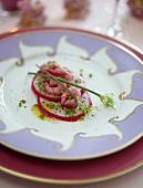 Pitahaya salad with chive vinaigrette and shrimps