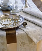 Christmas table with silver tableware