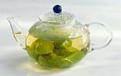 Peppermint tea in teapot