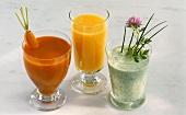 Carrot juice, orange juice and herb kefir