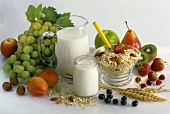 Wholefood: muesli, milk, yoghurt, fruit, nuts, cereals