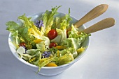 Romaine lettuce with vegetables and borage flowers
