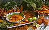 Still life: carrots, carrot juice, carrot salad