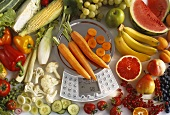 Fruit and vegetables with dietary computer scales