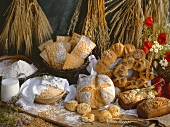 Various bread products, cereals and ingredients