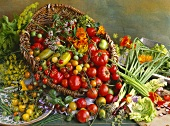 Vegetable still life with various tomatoes