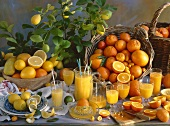 Citrus fruit with freshly squeezed juice