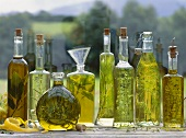 Various herb oils on a window sill