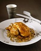 Spring chicken on mushroom cream sauce