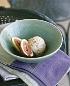 Nut ice cream with figs