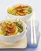 Chili-Garnelen auf Salat