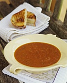 Tomato soup with grilled cheese sandwich
