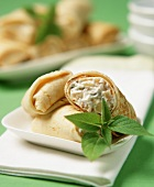 Crêpes with pineapple and walnut filling