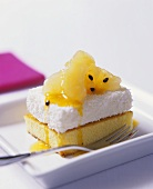 Coconut marshmallow slice with pineapple and passion fruit