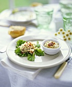 Vegetable salad and smoked fish cream