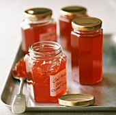 Four jars of crab apple jelly