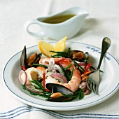 Seafood salad with rock samphire and vinaigrette