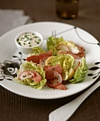 Cos lettuce with potatoes and ham